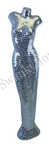 Silver Mirrored NUDE Female Floor Statue Sculpture Modern Woman 59'' Extra Large by Intelligent Design (Image #3)