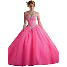 Dearta Women's Sequins Crystals Ball Gown Tulle Quinceanera Dresses Gowns Pink
