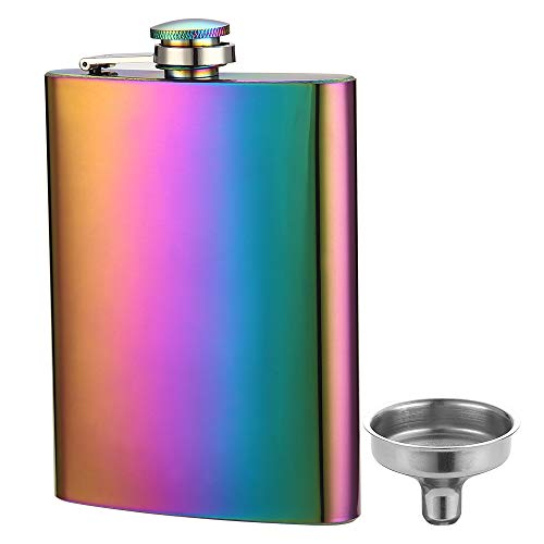 YFS Solid Rainbow Colored Flask for Liquor and Funnel, 8 Oz Leak Proof Stainless Steel Pocket Hip Flask ()