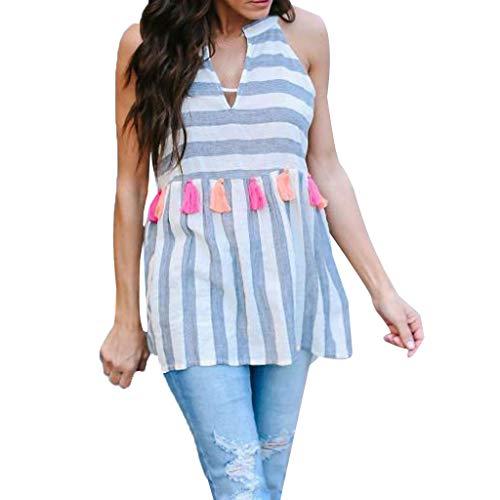 Mlide Womens Dresses Floral Geometric Striped Pattern Short Dres V-Neck Cotton Hem Casual T Shirt Dress,Blue S