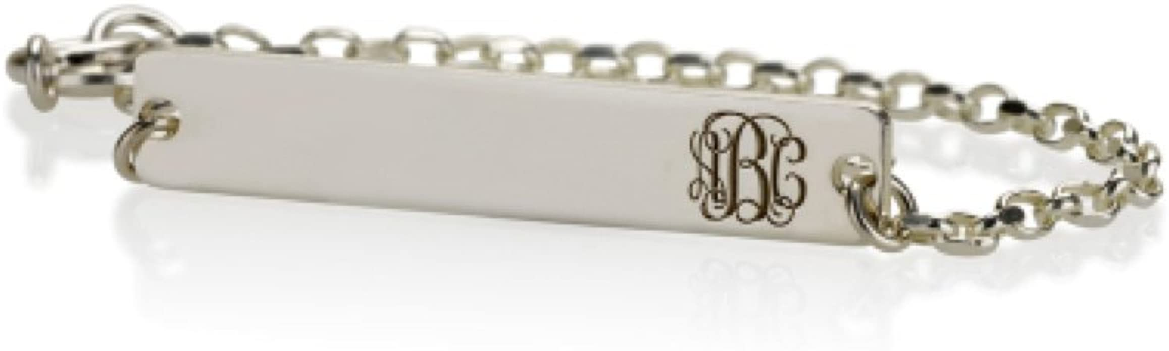 Jewelry Initial Bracelet Gift Sterling Silver Bar Bracelet Birthstone Bracelet