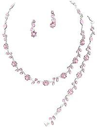 Affordable Lite Pink Crystal Bridesmaid 3 Bridal Necklace, Earring, Bracelet Set H5