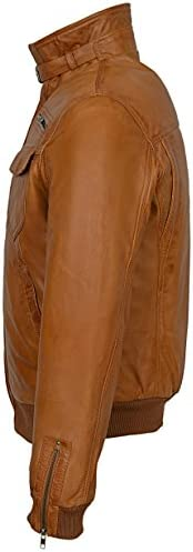 TORNADO Men Leather Jacket Black Vintage Washed Fitted Cool Bomber Style 9265