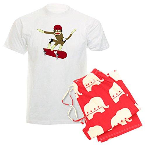 CafePress Sock Monkey Skateboarder Men's Light Pajamas Unisex