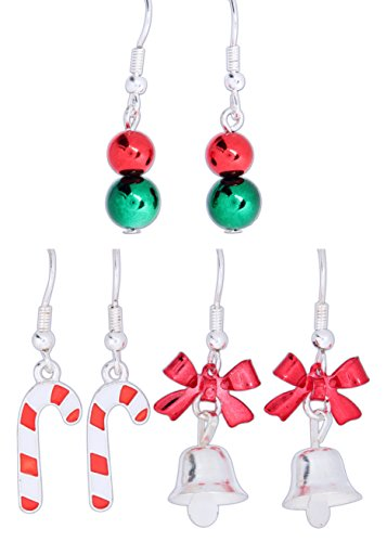Periwinkle Set of 3 Christmas Themed Earrings - Canes, Bells, and Beads