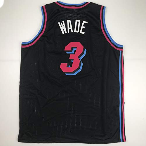 Hall Of Fame Sports Memorabilia - Unsigned Dwyane Wade Miami Black City Vice Custom Stitched Basketball Jersey Size Men's XL New No Brands/Logos