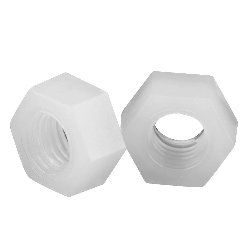 Lot de 100pcs Ecrous Hexagonals Fixation Filetage Mé trique en Nylon Blanc(M4) Walfront