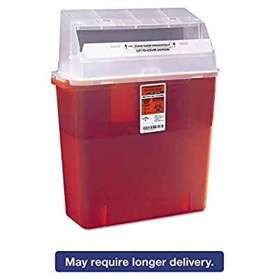 Medline MDS705203H Sharps Container for Patient Room, 3 Gallon, Red Plastic