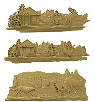 WowObjects 3 Pieces Deer 3D Model Relief STL Model for CNC