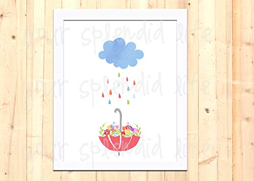 MalertaART April Showers Bring May Flowers Spring Printable 8 x 10 Framed Wall Art