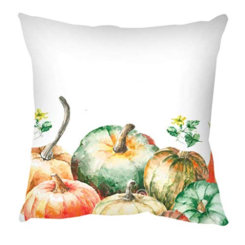 huoaoqiyegu Colorful Pumpkin Pattern Short Plush Throw Pillow Case Sofa Throwing Pad Set Home Decoration