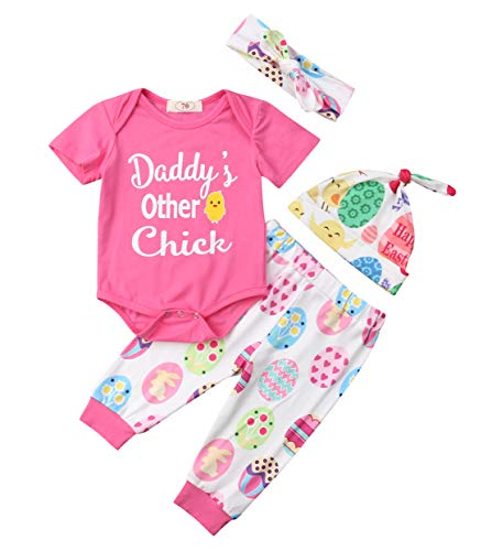 Baby Girl 4Pcs Easter Outfits Sets Daddy's Other Chick Easter Egg Easter Chick Print Romper Pants Hat Headband 0-18M (Pink, 0-3 Months) from YT couple