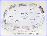 Passover Porcelain Seder Plate and Matching Plates in Ten Plagues Design