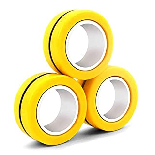 N/Y Magnetic Fidget Toy ,Stress Relief Finger Toy,Magnetic Bracelet Ring Unzip Toy, Magical Ring Props Tools, Colorful Finger Game Toy, Anti-Stress Fidget for Kid and Adult (Yellow)