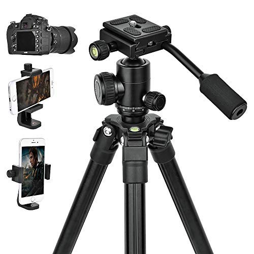 Camera Tripods,Phone Holder Adapter,DSLR lightweight Video Stand Compact Quick Release Plate Tripod with 360°Panorama Ball Head For Travel and Work.