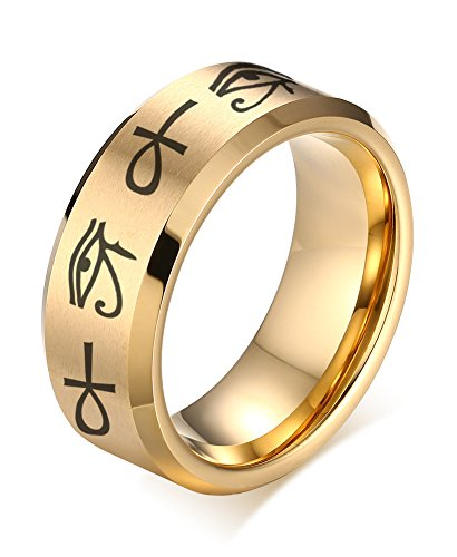 VNOX 8MM Gold Plated Stainless Steel Egypt Eye of Horus Ankh Cross Engagement Wedding Ring,Size 13
