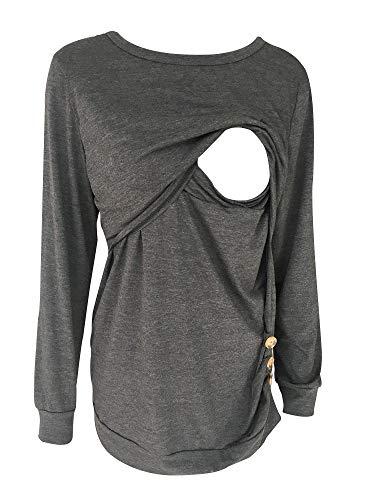 d9c5040e47e Women Breastfeeding Nursing Tops Button Side Short Sleeve Maternity Shirt