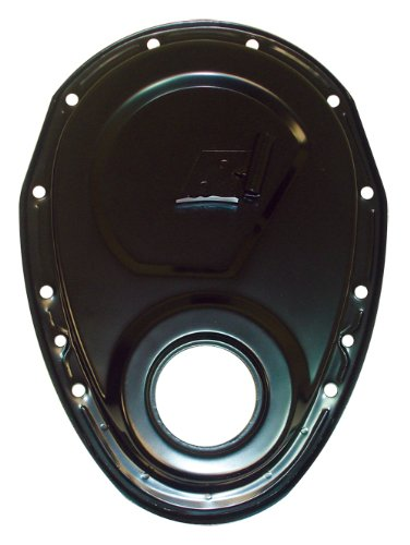 1955-95 Chevy Small Block 283-305-327-350-400 Steel Timing Chain Cover w/Timing Tab - Black