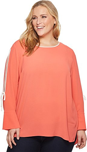 Cuff Flutter (Vince Camuto Specialty Size Womens Plus Size Long Sleeve Flutter Cuff Split Sleeve Blouse Melon 1X (US 14W-16W) One Size)