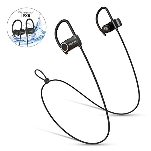 Gigastone CSR Wireless Sports Bluetooth Headphones, Super Long Hour Model, 12 Hour Playtime, HiFi Stereo Rich Bass IPX5 Water Resist Sweatproof Headsets Noise Cancelling Earbuds Fitness Gym Running