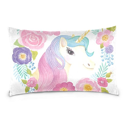 Cooper girl Unicorn Flowers Rose Pillow Case Sofa Bed Throw Pillow Cover Cotton Zipper 20x26 Inch