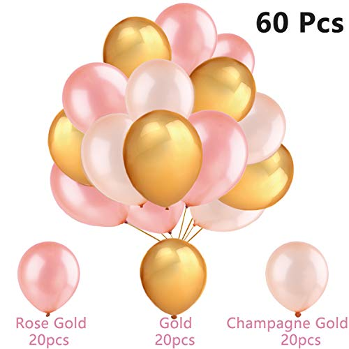 EASTiii 60Pcs Gold Balloons & Rose Gold Balloons & Champagne Gold Balloons , 12 Inch , Decoration Supplies Wedding , Graduation , Birthday Party , Hawaii