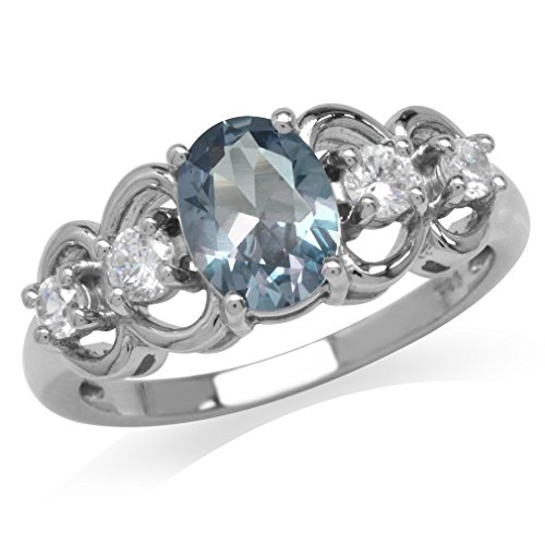 Simulated Color Change Alexandrite White Gold Plated 925 Sterling
