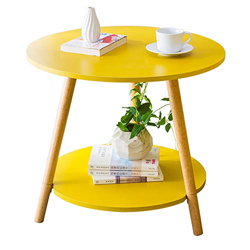 XBBZ Solid Wood Yellow Round Table, Sofa Side Table Nordic Solid Wood Coffee Table Bedside Table,Size: D59×H52cm ()