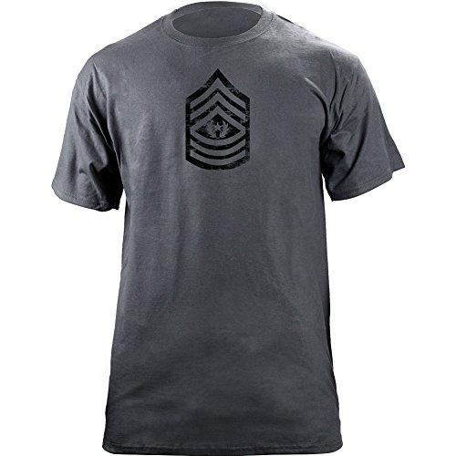 Vintage Army E-9 Command Sergeant Major Rank Veteran T-Shirt (2XL, Grey)