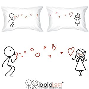 BOLDLOFT From My Heart to Yours Couples Pillowcases for Him and Her|Cute Girlfriend Gifts|Valentines Day Gifts for Her|His and Hers Gifts for Couples|Anniversary Gifts for Her|Romantic Gifts for Her