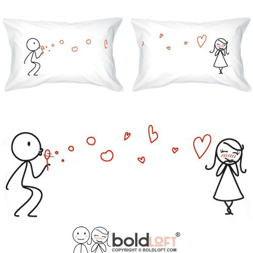 BOLDLOFT From My Heart to Yours Couples Pillowcases for Him and Her (King Size)| Cute Valentines Gifts for Her| His and Hers Gifts| 2nd Anniversary Gifts for Her| Romantic Gifts for Couples Hers Pillowcase