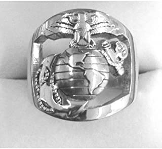 product image for Continuum Sterling Silver USMC Men's Ring with Open Back Eagle Globe and Anchor Plain MR10
