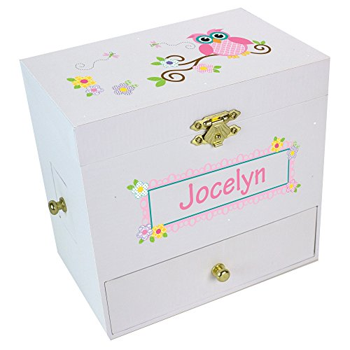 Personalized Pink Owl Deluxe Musical Ballerina Jewelry Box