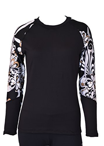 Private Island Hawaii Women UV Wetsuits Long Raglan Sleeve Rash Guard Top Black with Pucci Large