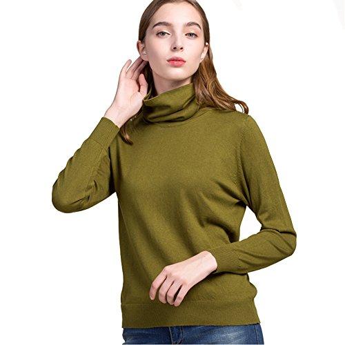 (Women's Silk Cashmere Turtleneck Long Sleeve Pullover Sweater Green)