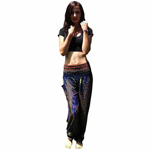 Harem Damen Festival Frauen Yoga Fitness Hosen Dunkelblau Hippie Hose Männer Hohe Boho Thai Kittel Lang Hosen TUDUZ Taille CR5x0qxvw