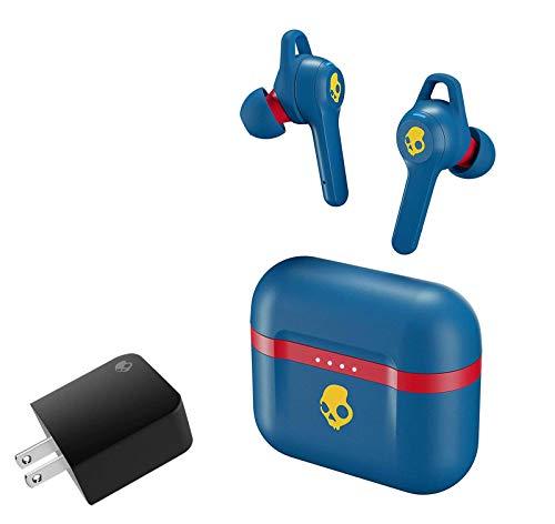 Skullcandy Indy Evo True Wireless Bluetooth in-Ear Earbud Bundle with Skullcandy Dual USB Rapid Wall Charger - 92 Blue