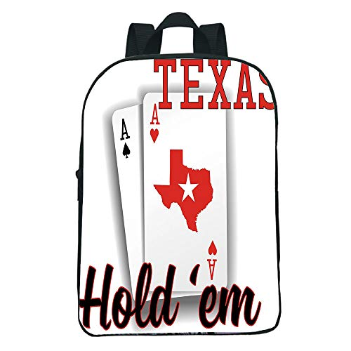 Personal Tailor Mini Black knapsack,Poker Tournament Decorations,Texas Holdem Theme Pair ACES Map Winning Hand Decorative,Red Black White Kids,Diversified Design.11.8