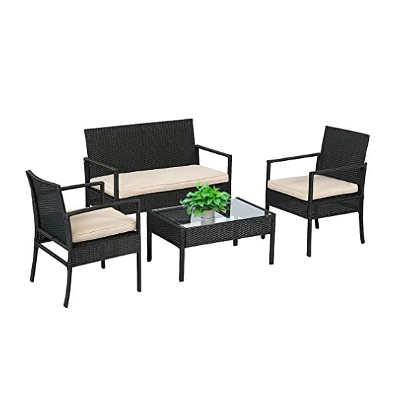 """Wicker Patio Furniture 3 Piece Patio Set Chairs Wicker Outdoor Rattan Conversation Sets Bistro Set Coffee Table for Yard or Backyard - INDOOR & OUTDOOR-Thickly Cushioned Wicker Patio Set Chairs For Maximum Comfort, Outdoor Bistro Set Gives You A Excellent Seating Experience.Our Garden Outdoor Conversation Set have strong feet to protect your floor and increase the stability of your furniture. Rattan Chair Dimension: 23"""" x 23"""" X 33 (L X W X H),Table Dimension: 16"""" x 16"""" x 16"""" (L X W X H) QUICK & EASY ASSEMBLY-This Outdoor Furniture Set Comes With All Hardware & Necessary Tools. Follow The Instruction, You Can Easily And Quickly Assemble The Patio Chair Set.The patio set is perfect for a small backyard or balcony, and serves as a relaxing place to enjoy time outdoors. SIMPLE & ELEGANT-The cushions of the patio bistro set use a high-density rebound sponge to give you a comfortable sitting feel.The patio set is simple and stylish,it will be perfect for decorating your yard, poolside, balcony, patio and home.Outdoor set features and elegant glass top side table perfect for a couple glasses of wine or the morning coffee and newspaper. - patio-furniture, patio, conversation-sets - 418mRk2mLGL. SS570  -"""