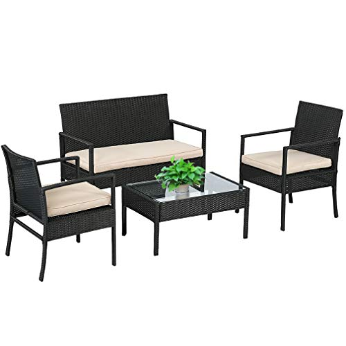 Wicker Patio Furniture 4 Piece Patio Set Chairs Wicker Sofa Outdoor Rattan Conversation Sets Bistro Set Coffee Table for Yard or Backyard (Patio Deck Furniture)