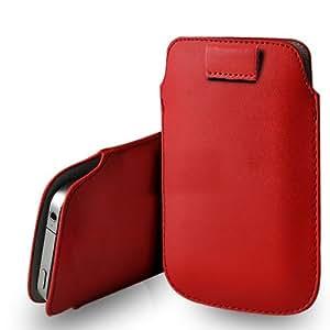 Samsung Galaxy S4 i9500 cuero rojo Tire Tab caso de la cubierta Pouch + paño de pulido
