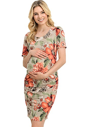 Hello MIZ Women's Floral Side Ruched Fitted Maternity Dress Made in USA (Large, Olive Flower)