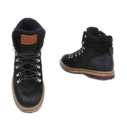 Stiefeletten Leder Herren-Schuhe Combat Boots Schnürer Schnürsenkel Ital-Design Boots Schwarz, Gr 46, Tnk-201-