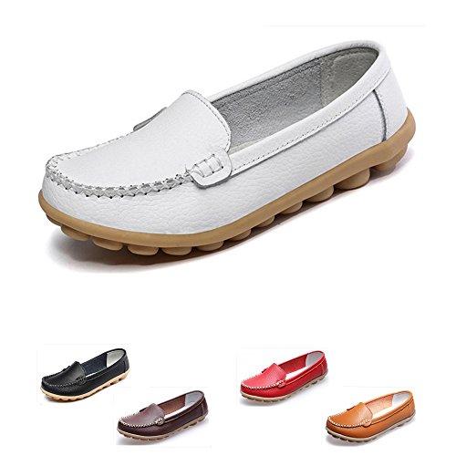 Scarpe Da Donna Mocassini In Pelle Oxford Slip On Casual Walking Flats Scarpe Da Barca Bianco