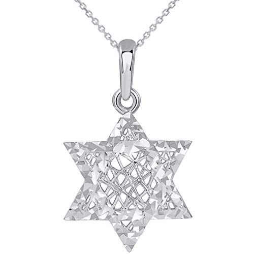 (14k White Gold Textured 3D Jewish Star of David Pendant Necklace, 16