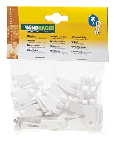 Windhager Laufhaken, weiß, Zubehör für Seilspannmarkise / Sonnensegel (30 Stück)
