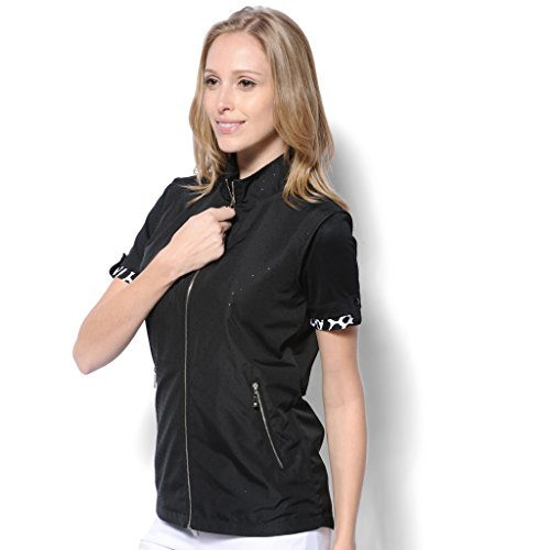 Monterey Club Ladies' Lightweight Sparkling Dot Microfiber Poplin Zip- up Vest #2771(Black/Silver,X-Large)