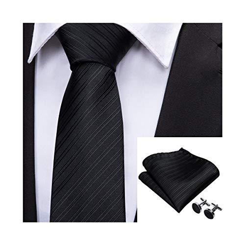 Barry.Wang Mens Solid Black Tie Set Stain Silk Necktie Handkerchief Cufflinks