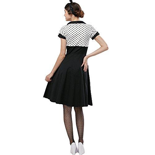 ZAFUL Mujer Vintage Vestido de Fiesta Impresión de Lunares Negro Manga Corta Vestidos de Casuales Rockabilly Dress Ropa Verano Talla Grande S-4XL