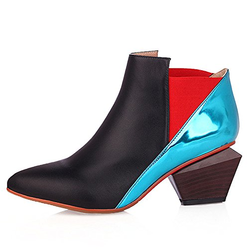 Heels Walking Seven Pointed Nine Contrast cow Toe Mid Ankle Boots Color Handmade Boots Stacked Trendy Leather Women's Black Heel vBfw6dwWRq